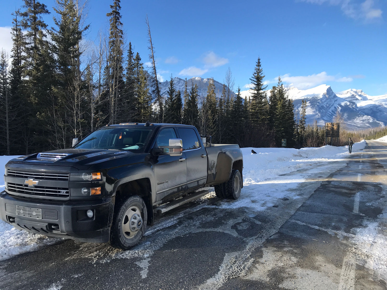Rubydale Truck during asphalt paving job in Banff National Park near Mistaya Canyon