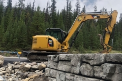 building a retaining wall at Mistaya Canyon