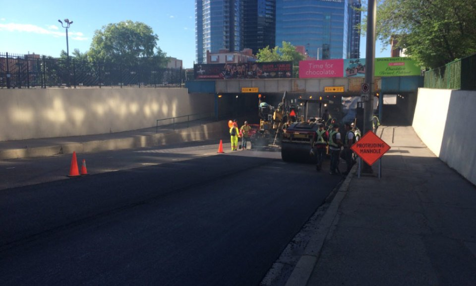 calgary road construction asphalt downtown